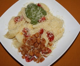 Shell pasta with basil sauce
