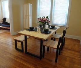 Steel and 2x4 Full Dining Table Set