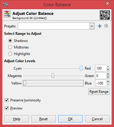"""Picture of Click on Shadows, and Set the """"Cyan>Red"""" Bar to 100 and the """"Yellow>Blue"""" Bar to -100"""