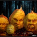 Hand Carved Pumpkin Family