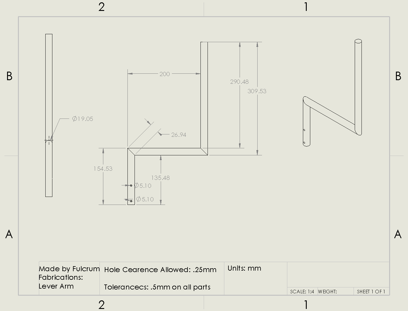 Picture of Lever Arm Drawing