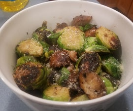 Pan Seared Brussel Sprouts & Mushrooms