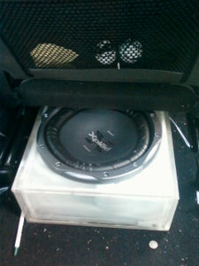 Acrylic Subwoofer Enclosure for Under a Car Seat.