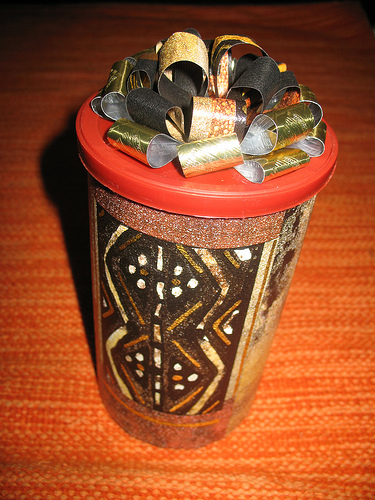 Picture of Cool Recycled Gift Canister, Wrapping, and Fabulous Bow
