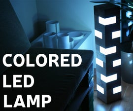 Colored LED Lamp From Pallet Wood Blocks