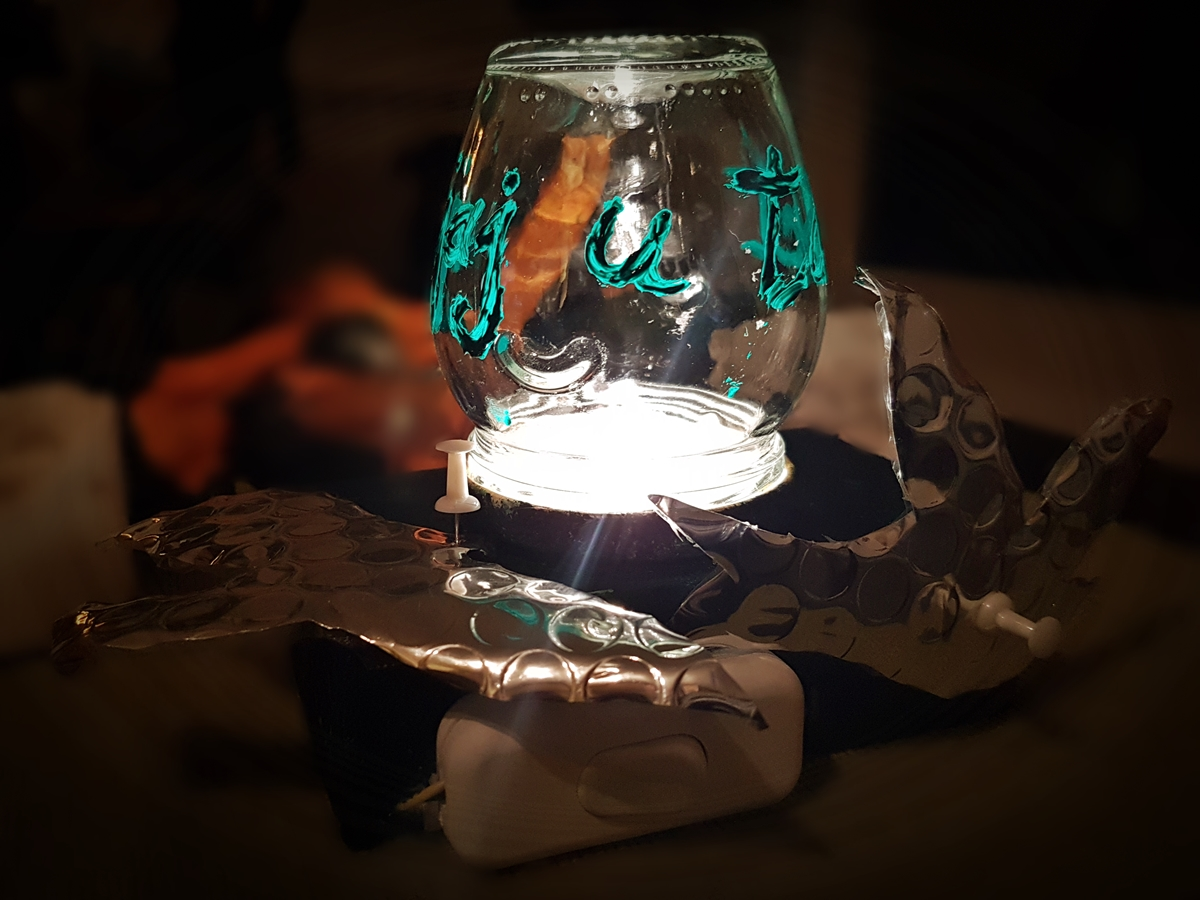 Picture of DIY Lamp Made From Recycled Materials (battery Powered)