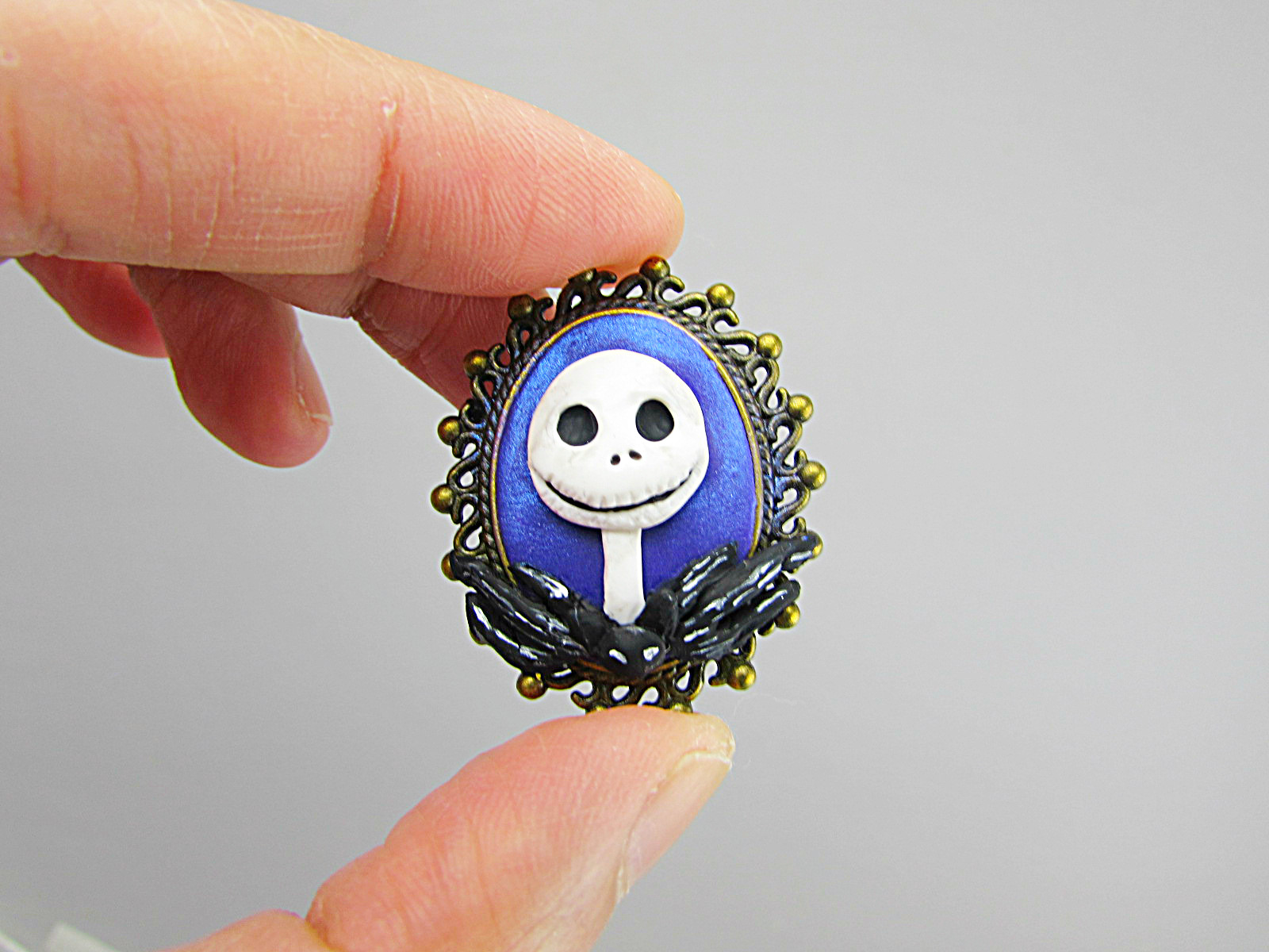 Picture of Jack Skellington Polymer Clay Brooch Tutorial