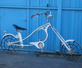 Chopper bicycle made from found materials