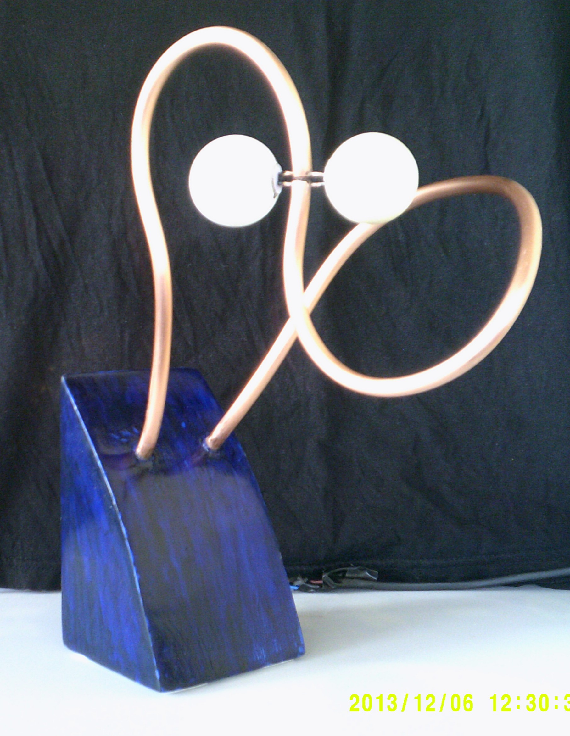 Picture of Ping Pong Lamp From Reclaimed Wood and Copper Tube Without Wires