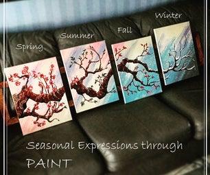 4 Piece Painting - a Walk Through the Seasons
