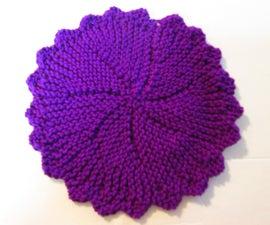 Knit a Round Purple Dish Cloth