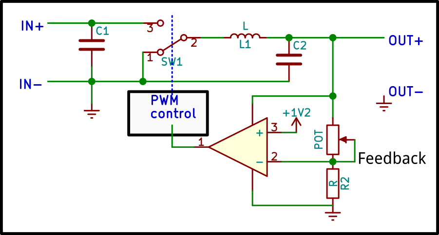 Picture of How the Output Voltage Is Controlled by a Pot