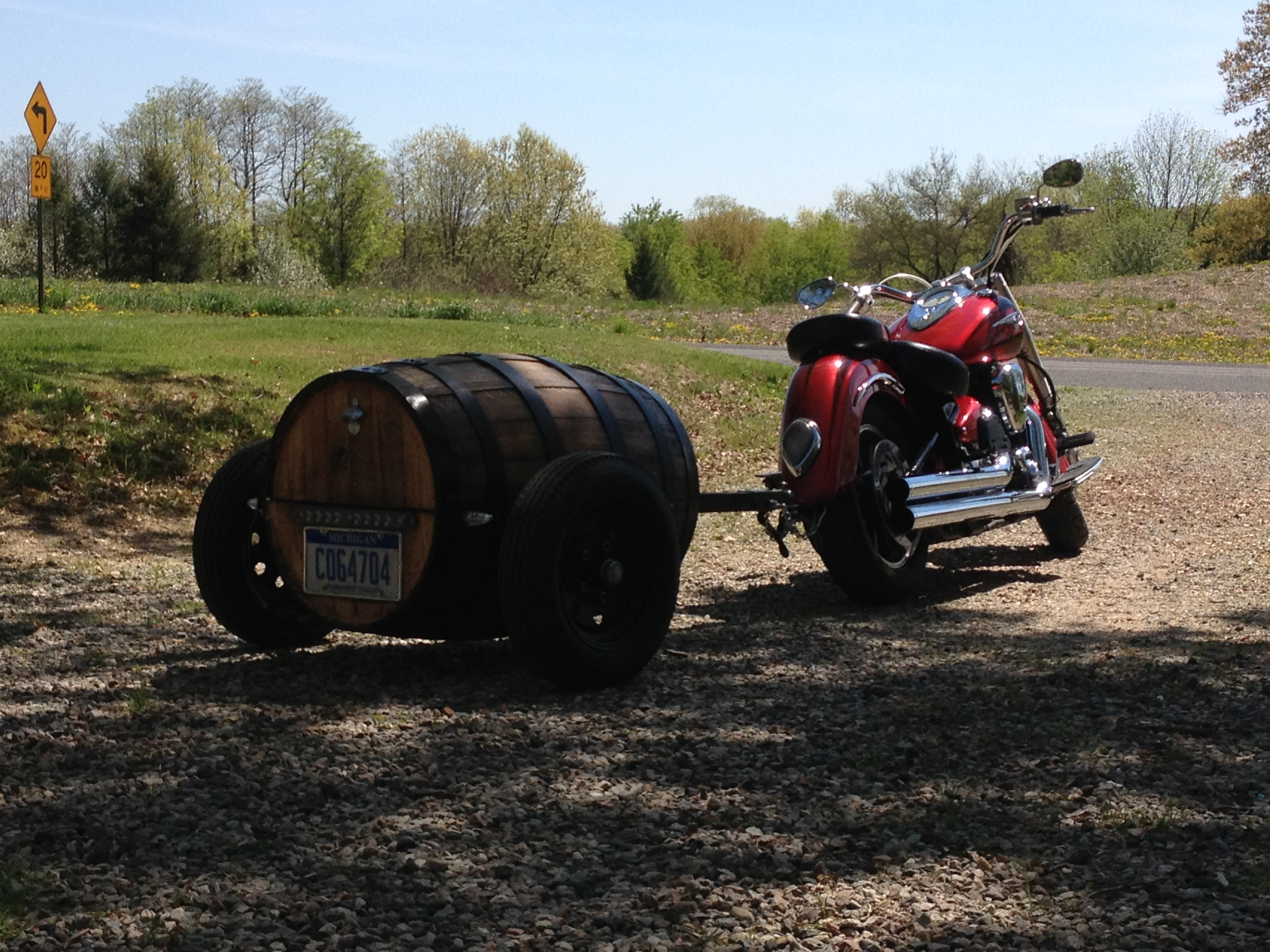 Picture of 50 Gallon Whiskey Barrel Motorcycle Trailer Building Plans