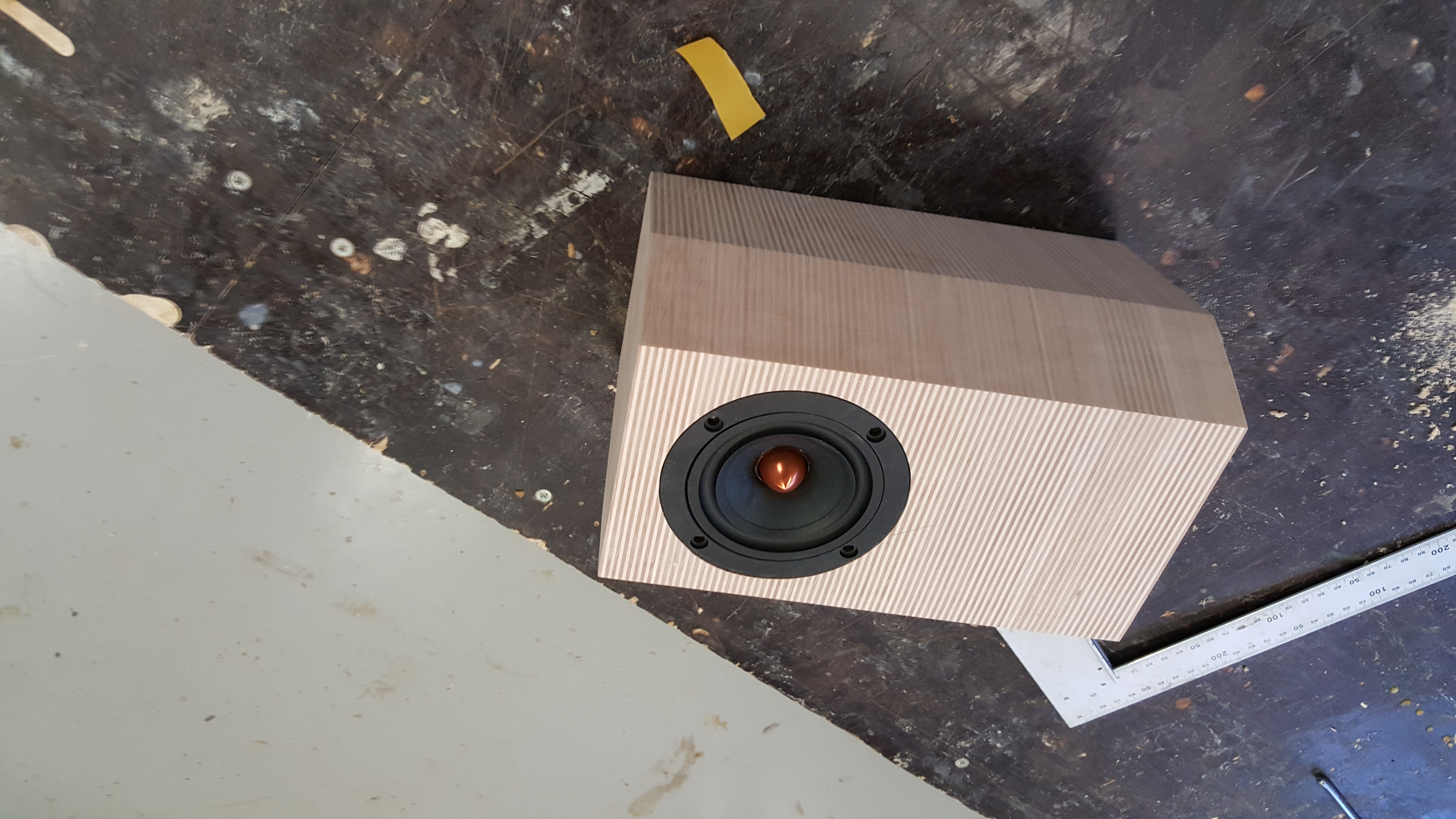 Picture of Cutting the Holes and Recesses for the Speakers and for the Small Aluminium Plate