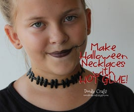 HALLOWEEN Necklaces Made with Hot Glue! Dripping Blood, Spider Webs and Stitches!