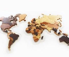 wooden world map.