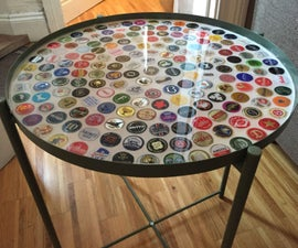Bottle Cap Tray Table With Grout and Resin
