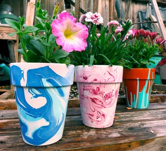 Nail Polish Marbled Flower Pots 6 Steps With Pictures