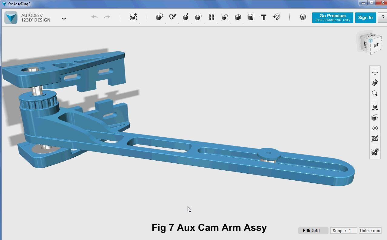Picture of 3D Parts Design - Auxiliary Cam Arm