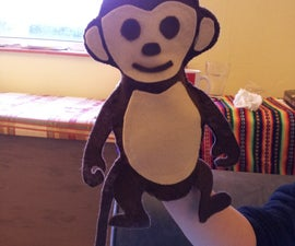 Easy stitch and glue monkey hand puppet