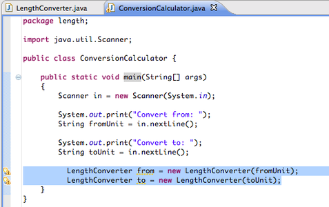 Construct Two LengthConverter Objects