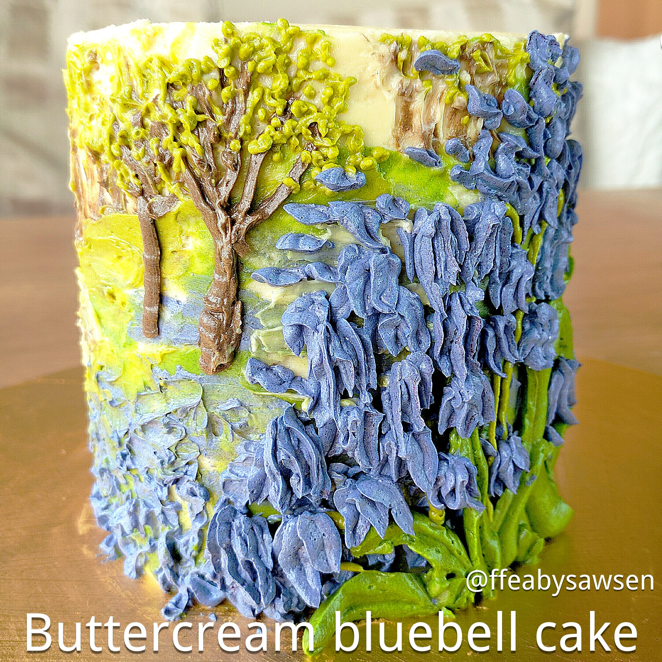 Picture of How to Make a Buttercream Oil Painting on a Cake & Pipe Bluebells