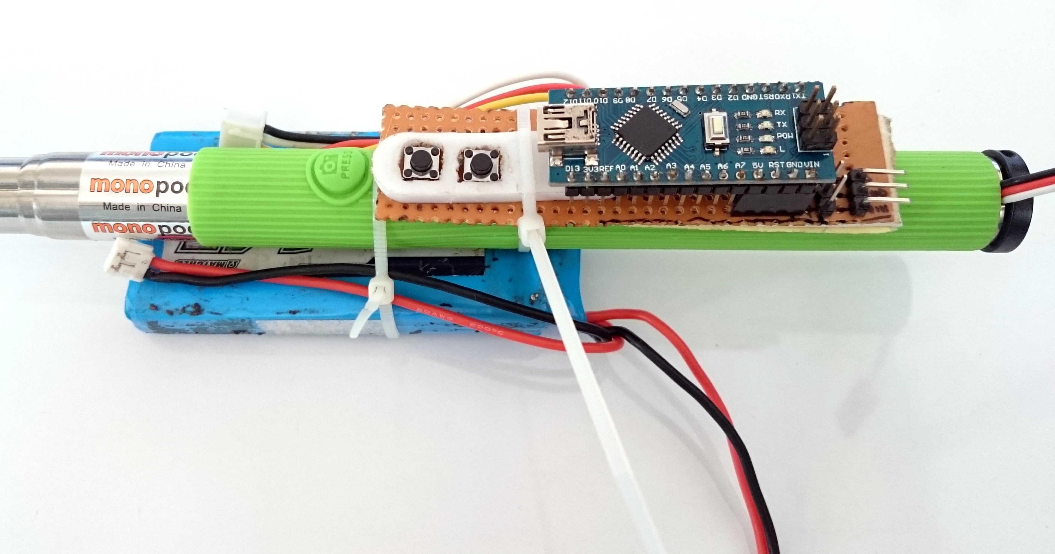 Picture of Attaching the Circuit and Battery to the Stick