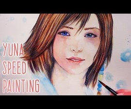 Yuna Coloring Process With Watercolors and Pencils