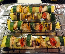 WILD SALMON KABOBS WITH SWEET PEPPERS, PINEAPPLE, AND ZUCCHINI