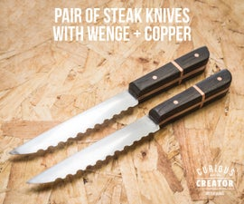 Pair of Steak Knives With Wenge + Copper
