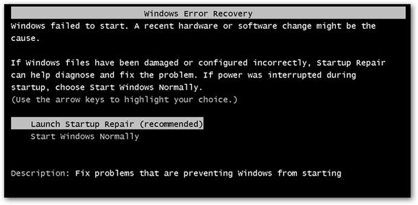 (Optional) Windows Error Recovery