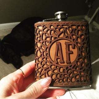 Laser Cut Leather Flask