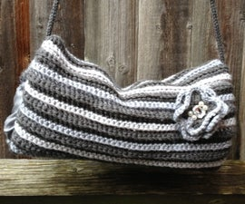 """50""/Fifty Shades of ""Crocheted"" Grey to keep your hands warm - Vintage Inspired Hand Muff / Warmer with Detachable Flower!"
