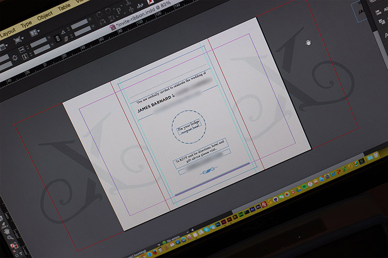 Picture of Create the Elements in Indesign and Mark the Fold Positions on an A5 Landscape Document. Print the Sections Separately, Putting the Actual Invite Onto a Separate A6 Card to Be Cropped Down Later.