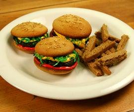 Hamburger Cupcakes with Sugar Cookie Fries