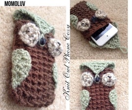 Knit Owl Phone Cozy