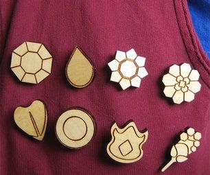Laser Cut Pokemon Gym Badges