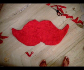 Old towel to a moustache floor mat