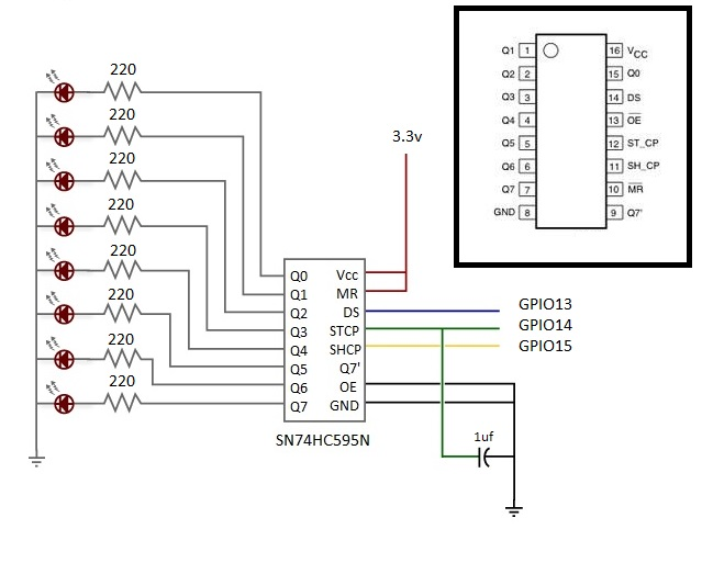 Picture of ESP8266 Driving Single 595 With 8 LEDS