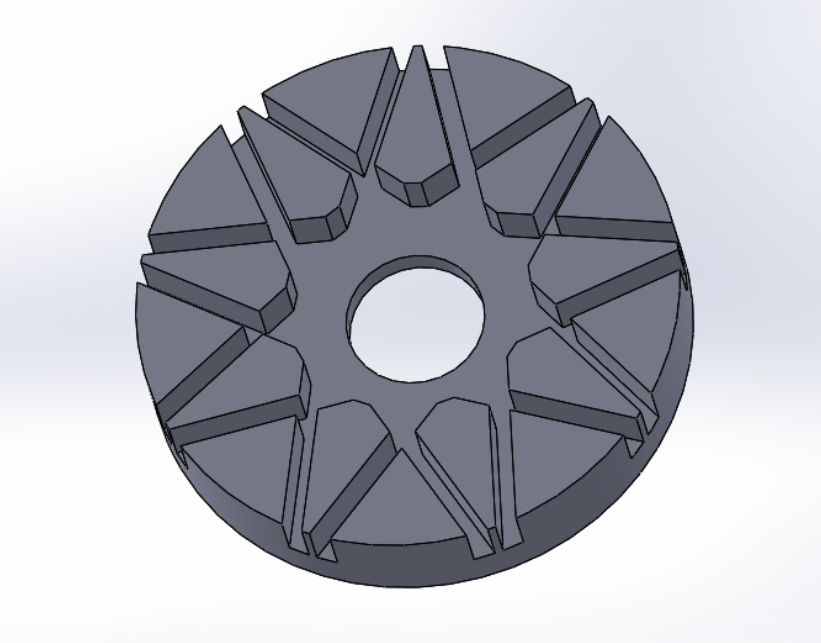 """Picture of """"Extrude Cut"""" the New Sketch by 14mm to Create the Spoke Pattern on the Back"""
