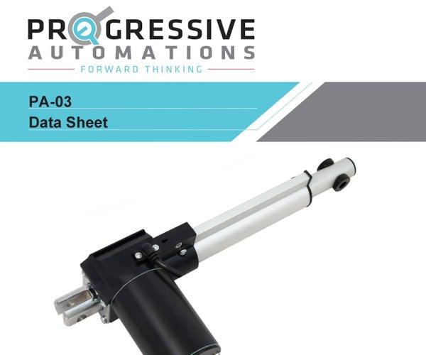 Linear Actuator Progressive Automations PA-03 Data Sheet