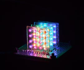 4x4x4 DotStar LED Cube on Glass PCBs