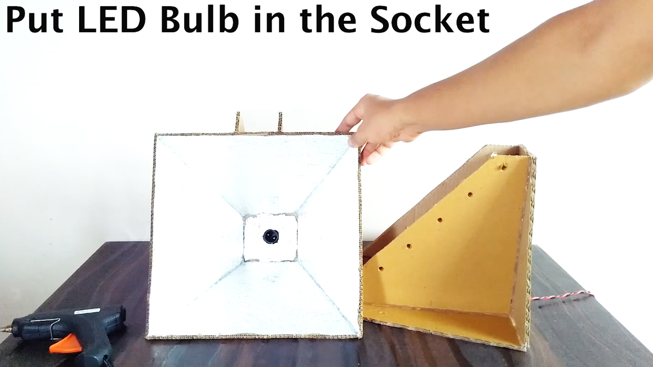Picture of Cover Inside Part of Softbox Entirely With Aluminium Foil and Put the LED Bulb Inside ( Refer Video )