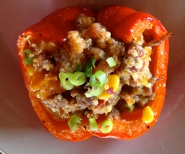 Quinoa and Sausage Stuffed Roasted Peppers