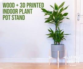 木+ 3D印花室内植物锅架