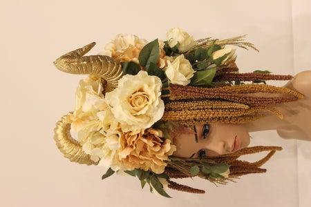 Completed Golden Goddess Horned Headdress