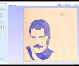 Freddie Mercury on Wood