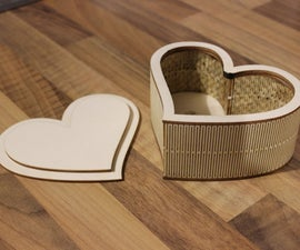 Laser Cut Plywood Heart Shaped Box