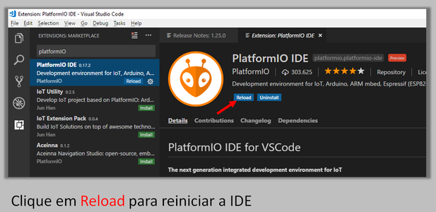 Installing the PlatformIO Extension