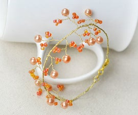 How to Make Tree Branch Wire Bracelet With Orange Beads